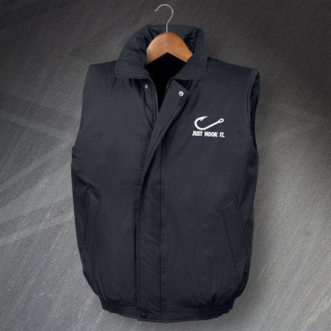Fishing Bodywarmer Embroidered Padded Just Hook It