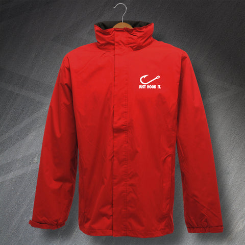 Fishing Jacket Embroidered Waterproof Just Hook It