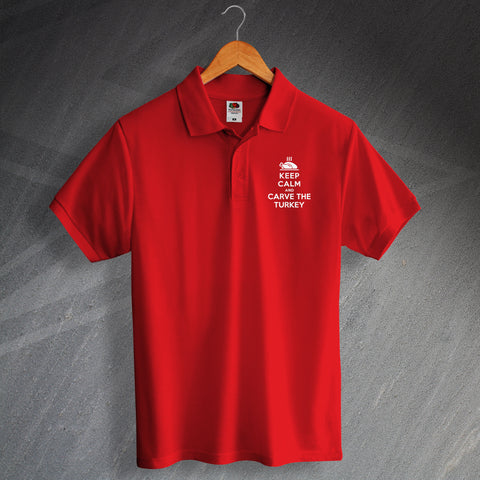 Christmas Polo Shirt Embroidered Keep Calm and Carve The Turkey
