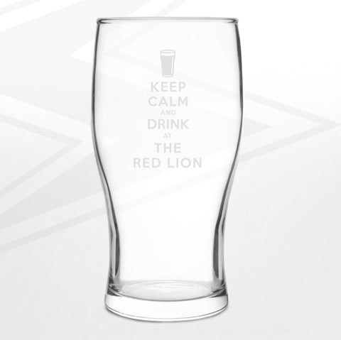 The Red Lion Pint Glass Engraved Keep Calm and Drink at The Red Lion
