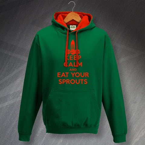 Christmas Hoodie Contrast Keep Calm and Eat Your Sprouts