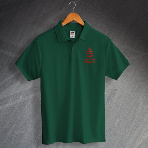 Christmas Polo Shirt Embroidered Keep Calm and Eat Your Sprouts