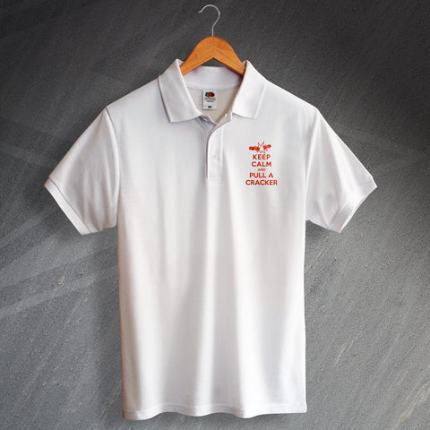 Christmas Polo Shirt Embroidered Keep Calm and Pull a Cracker