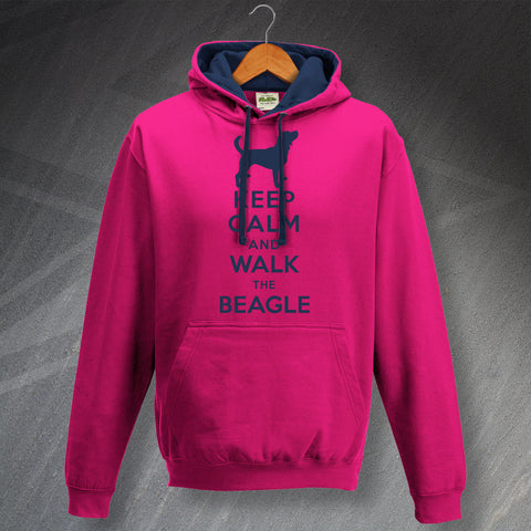 Keep Calm and Walk The Beagle Unisex Contrast Hoodie