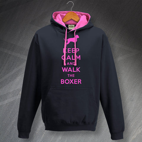 Boxer Dog Hoodie Contrast Keep Calm and Walk The Boxer