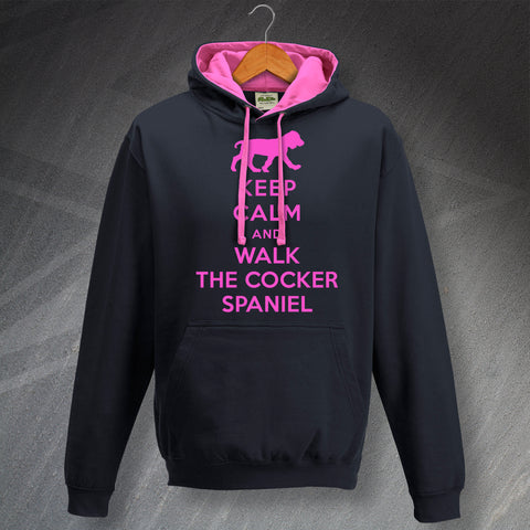 Keep Calm and Walk The Cocker Spaniel Unisex Contrast Hoodie