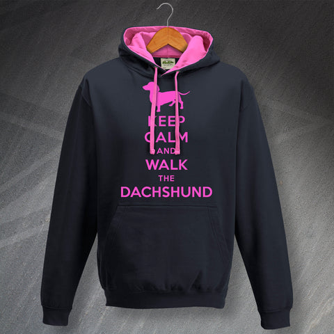 Keep Calm and Walk The Dachshund Unisex Contrast Hoodie