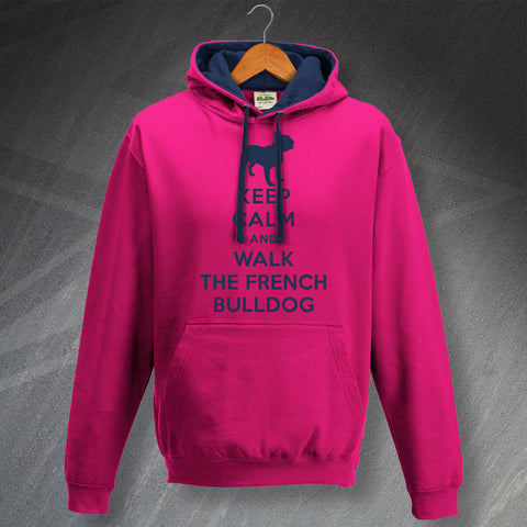 Keep Calm and Walk The French Bulldog Unisex Contrast Hoodie