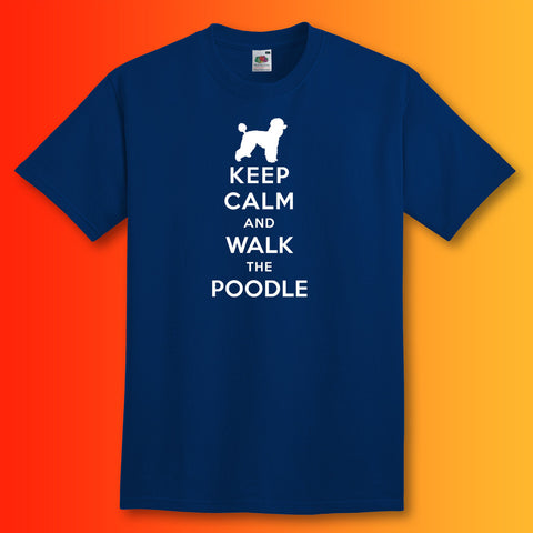 Keep Calm and Walk The Poodle T-Shirt Navy