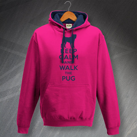 Keep Calm and Walk The Pug Unisex Contrast Hoodie