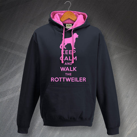 Rottweiler Hoodie Contrast Keep Calm and Walk The Rottweiler