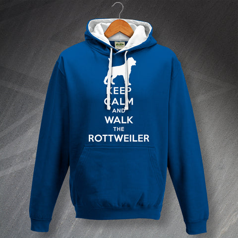 Keep Calm and Walk The Rottweiler Unisex Contrast Hoodie