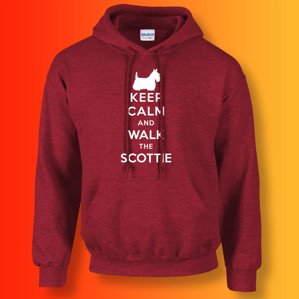 Keep Calm and Walk The Scottie Hoodie Antique Cherry