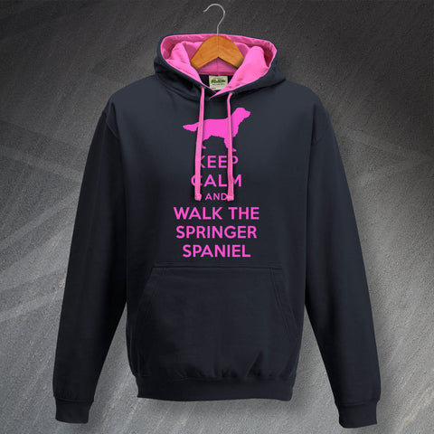 Springer Spaniel Hoodie Contrast Keep Calm and Walk The Springer Spaniel
