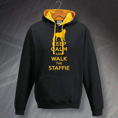 Keep Calm and Walk The Staffie Unisex Contrast Hoodie