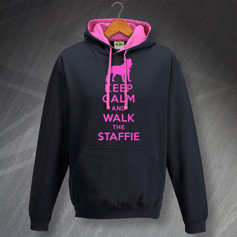 Staffordshire Bull Terrier Hoodie Contrast Keep Calm and Walk The Staffie