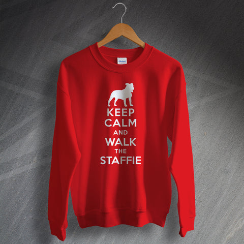 Staffordshire Bull Terrier Sweatshirt Keep Calm and Walk The Staffie