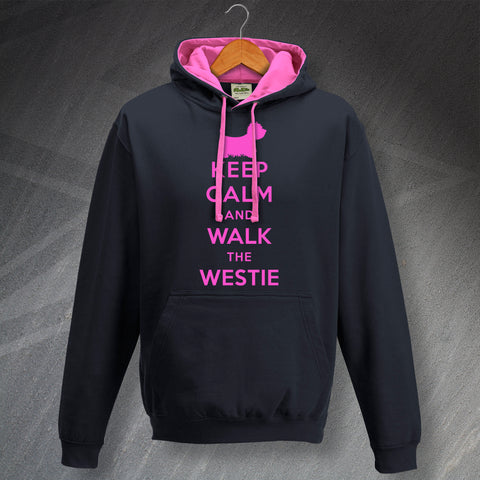 West Highland White Terrier Hoodie Contrast Keep Calm and Walk The Westie
