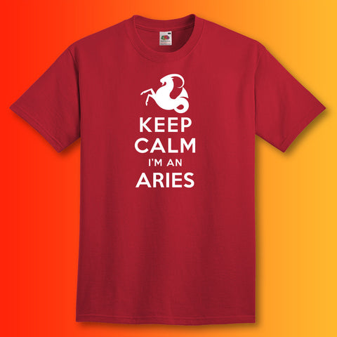 Keep Calm I'm an Aries T-Shirt Brick Red