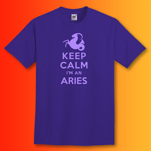 Keep Calm I'm an Aries T-Shirt Purple
