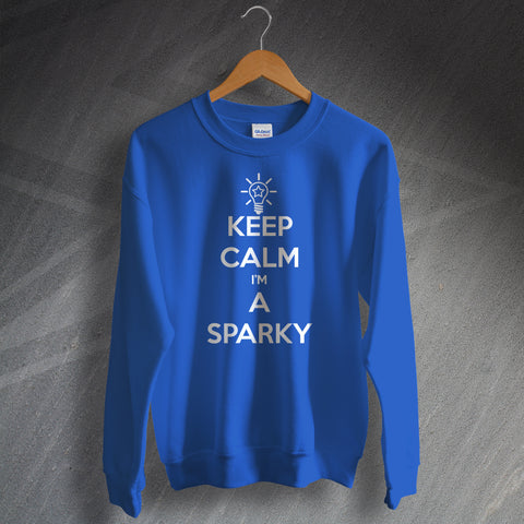 Electrician Sweatshirt Keep Calm I'm a Sparky Light Bulb & Star