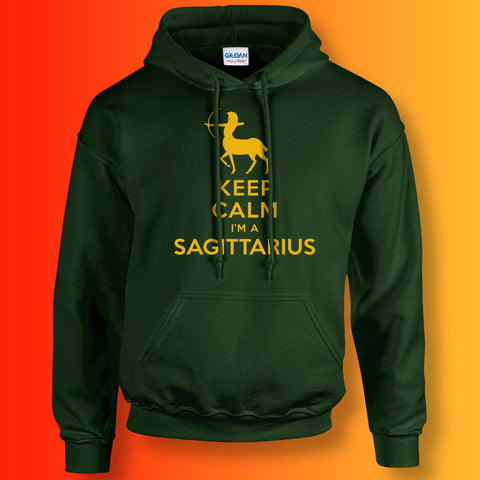 Keep Calm I'm a Sagittarius Hoodie Forest Green