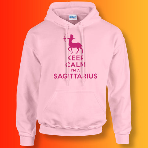 Keep Calm I'm a Sagittarius Hoodie Light Pink