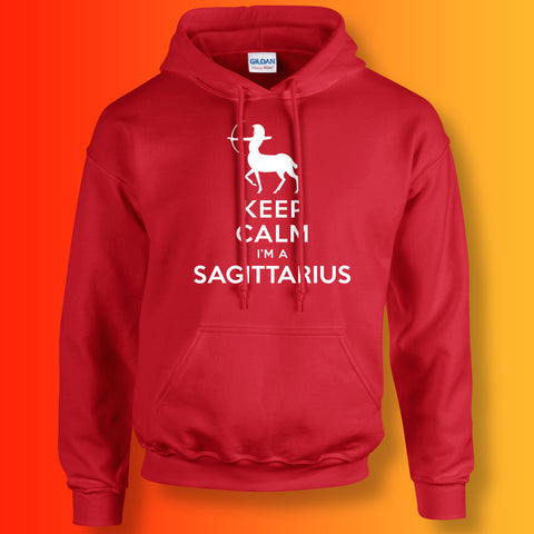 Keep Calm I'm a Sagittarius Hoodie Red