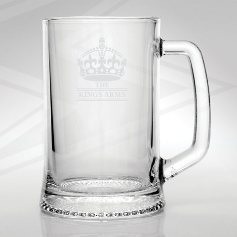 The Kings Arms Pub Glass Tankard Engraved Crown