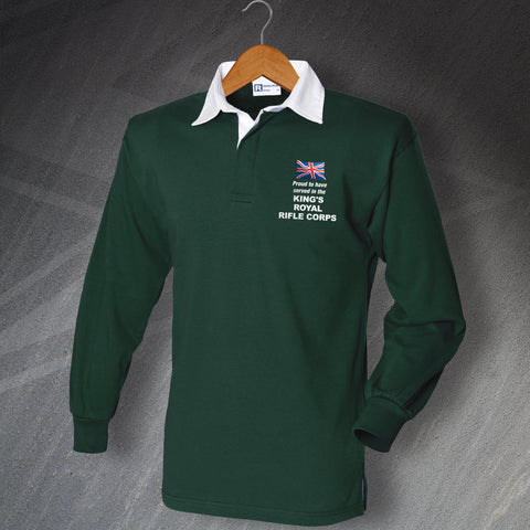 King's Royal Rifle Corps Rugby Shirt Embroidered Long Sleeve Proud to Have Served
