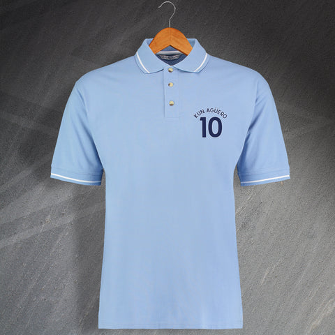 City Football Polo Shirt Embroidered Contrast Aguero 10