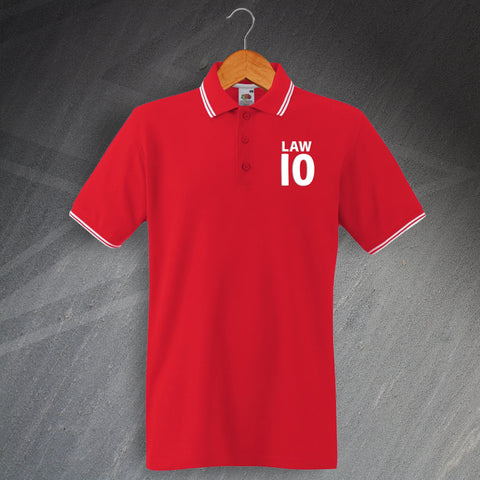 United Football Polo Shirt Embroidered Tipped Law 10