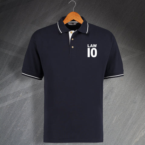 Scotland Football Polo Shirt Embroidered Contrast Law 10