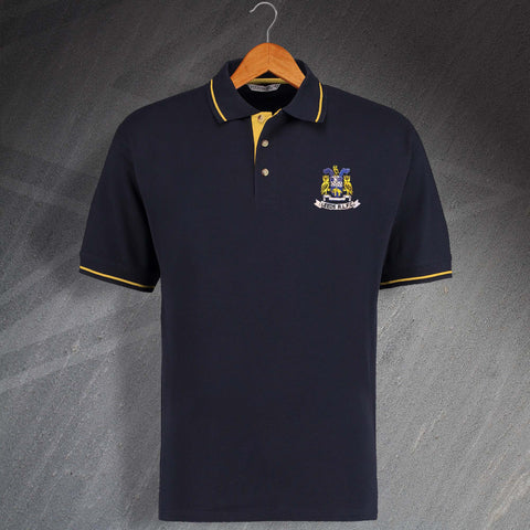 The Rhinos Rugby Polo Shirt Embroidered Contrast Leeds RLFC
