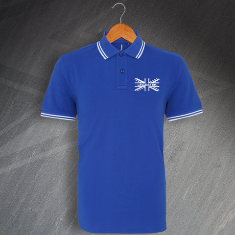 Leicester Football Polo Shirt Embroidered Tipped Union Jack