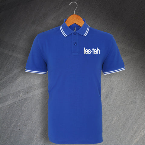 Leicester Football Polo Shirt Embroidered Tipped Les-Tah
