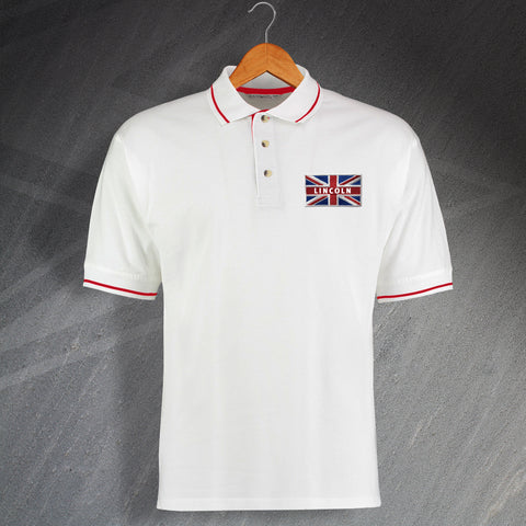 Lincoln Football Polo Shirt Embroidered Contrast Union Jack