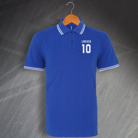 Leicester Football Polo Shirt Embroidered Tipped Lineker 10