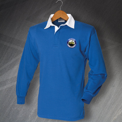 Retro Linfield Long Sleeve Football Shirt with Embroidered Badge