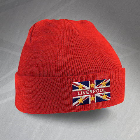 Liverpool Football Beanie Hat Embroidered Union Jack & European Stars