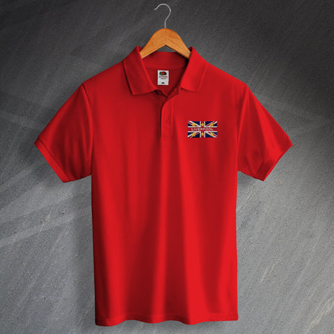 Liverpool Football Polo Shirt Embroidered Union Jack & European Stars
