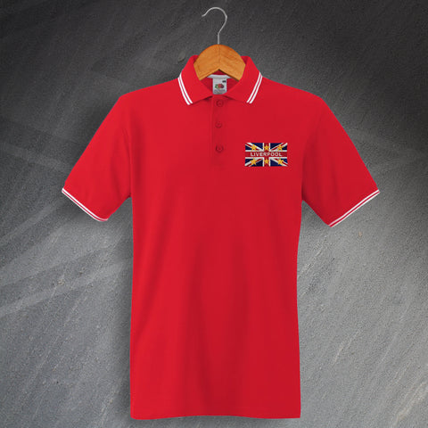 Liverpool Football Polo Shirt Embroidered Tipped Union Jack & European Stars