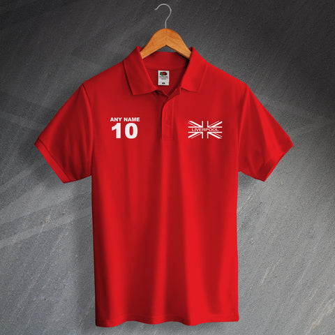 Liverpool Union Jack Flag Polo Shirt with any Number & Name