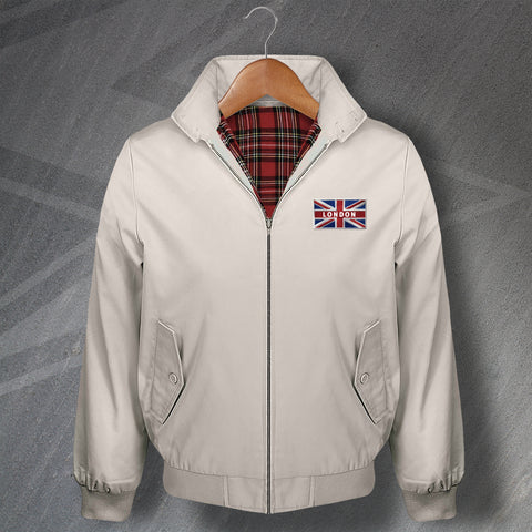 London Embroidered Union Jack Flag Classic Harrington Jacket