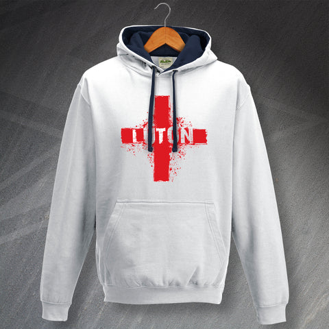 Luton Football Hoodie Contrast Grunge Flag of England