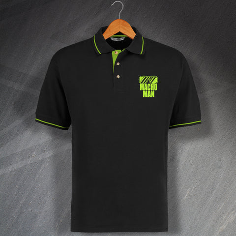 Macho Man Embroidered Contrast Polo Shirt