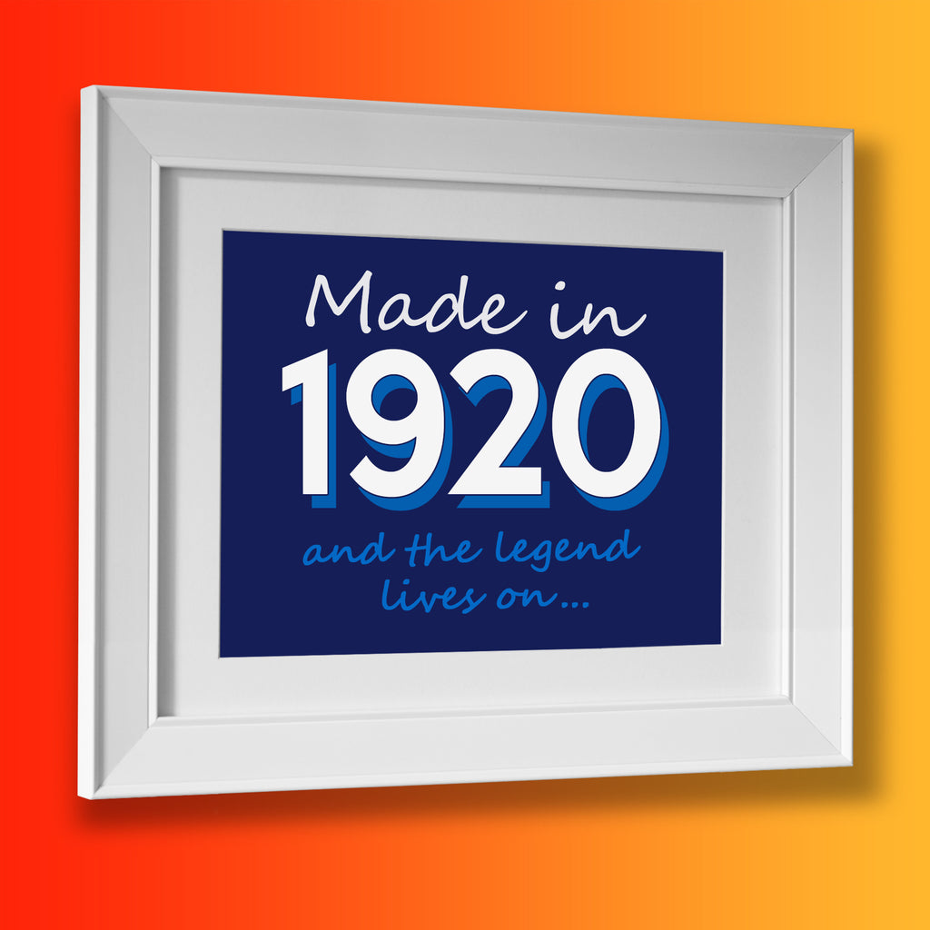 Made In 1920 and The Legend Lives On Framed Print Navy