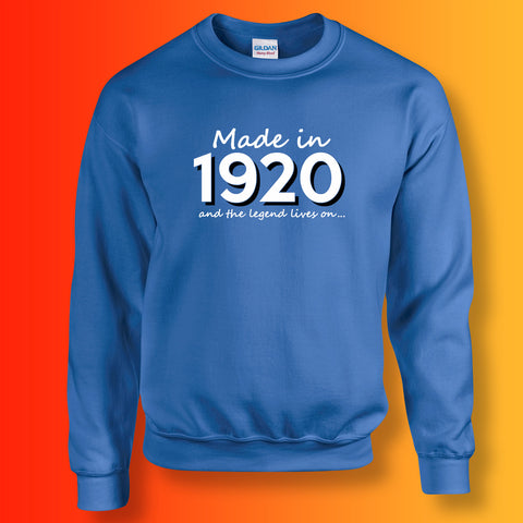 Made In 1920 and The Legend Lives On Sweater Royal Blue