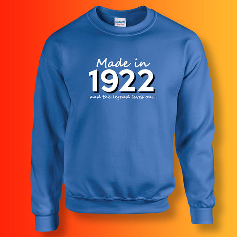 Made In 1922 and The Legend Lives On Sweater Royal Blue