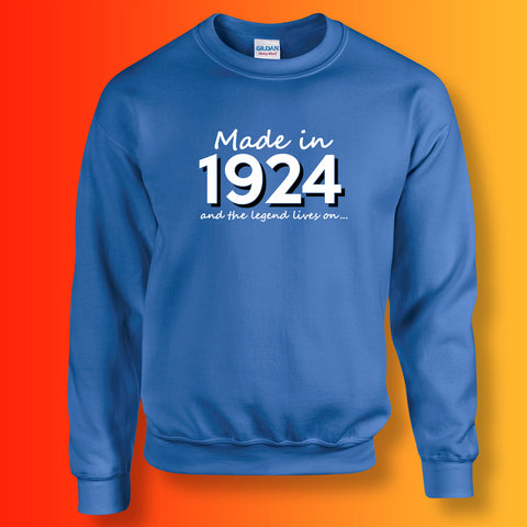 Made In 1924 and The Legend Lives On Sweater Royal Blue